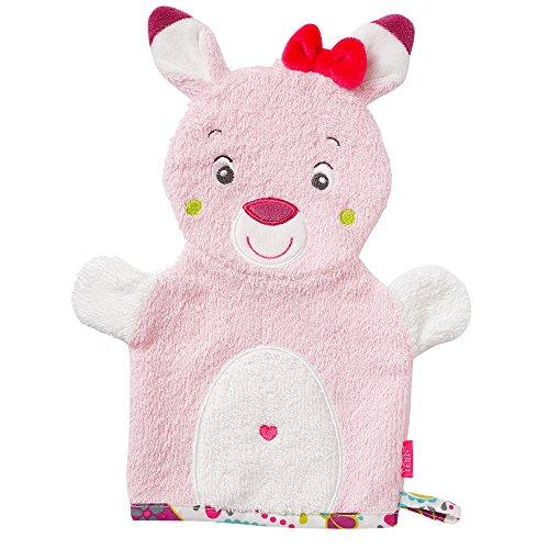 Fehn 076844 Waschhandschuh Rehkitz / Waschlappen mit Tiermotiv für fröhlichen Badespaß, für Babys und Kinder ab 0+ Monaten