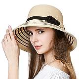 SIGGI Damen Strohhut breite Krempe Faltbarer Sommerhut mit Kinnriemen UPF 50 Beige