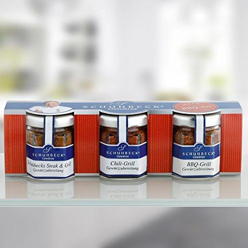 51P28d0HHzL - Schuhbecks Gewürze BBQ-Gewürz 3er Set Chili-, Steak- & BBQ-Gewürz, mini Grillgewürze für Fleisch, Fisch, Marinaden & Gemüse, ideal als Geschenk, Menge: 1 x 70 g