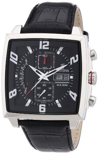 Festina F6826/3 - Reloj cronógrafo de cuarzo para hombre con correa de piel, color negro