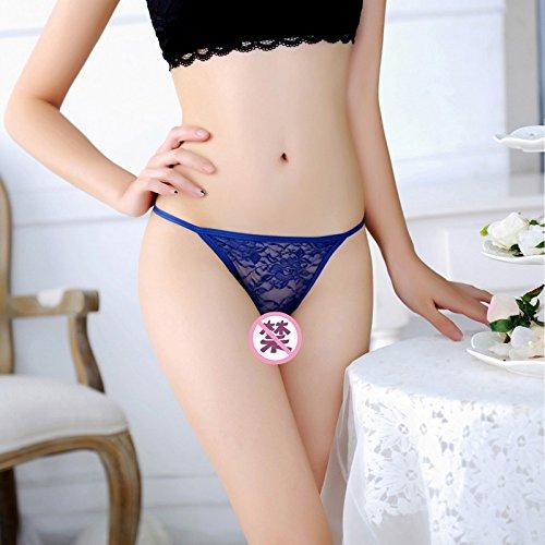 RRRRZ*Spice Girls sous-vêtements sexy noir avec fine bague de fer Mme soyeux pantalons sous-vêtements T chaîne tempérament 71119, blanc Blue