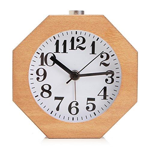 Baban despertador/madera despertador Madera octogonal alarma silenciosa del reloj con luz de noche,Un gran regalo para sus hijos, familiares, amigos Burlywood