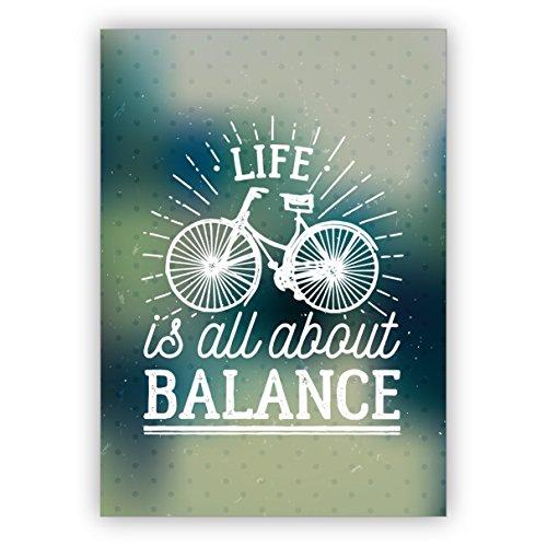 1 Wellness Retro Motto Grußkarte mit Fahrrad für beste Freunde - auch zum Geburtstag: Life is all about balance