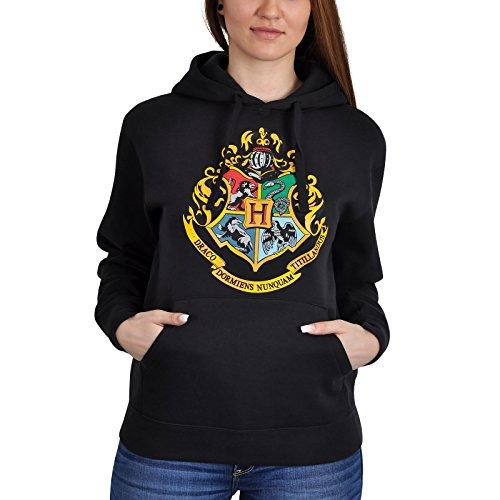 Harry Potter Hoodie Hogwarts Wappen schwarz - (Frauen Kostüm Für Todesser)
