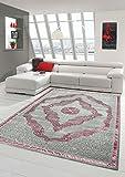 Designer und Moderner Teppich Kurzflor Orientteppich in Grau Silber Rosa Größe 160x230 cm