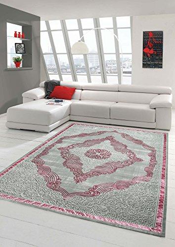 Designer und Moderner Teppich Kurzflor Orientteppich in Grau Silber Rosa Größe 200 x 290 cm