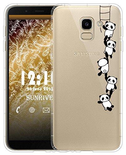 Sunrive Für Samsung Galaxy J6 (2018) Hülle Silikon, Transparent Handyhülle Luftkissen Schutzhülle Etui Case für Samsung Galaxy J6 (2018)(TPU Panda 1)+Gratis Universal Eingabestift