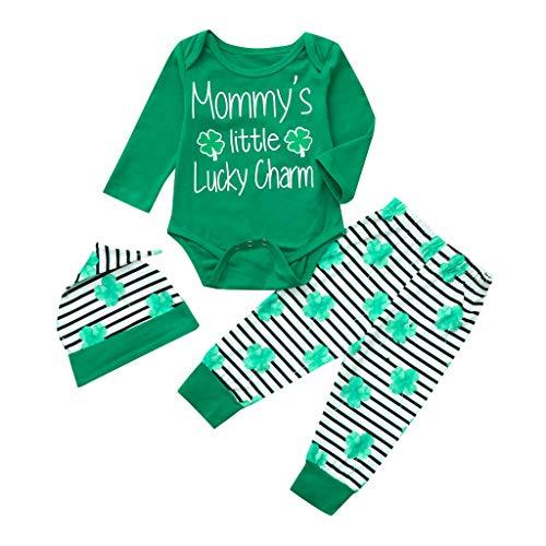 Sunnywill Baby Neugeborenes Bekleidungssets Outfits Herbst Warm Jumpsuit Jungen Mädchen Brief Strampler Hose Set St. Patrick's Day Green (St Patrick's Day Kostüm Für Kleinkind)