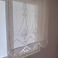 Makrome Desen Tül Perde Örgü Otantik Doğal Pamuklu Perde El İşi Dantel Keten DENİZLİ BULDAN - BODRUM Pencere Pamuk Kumaş Tül (En 120 x 120 Boy)
