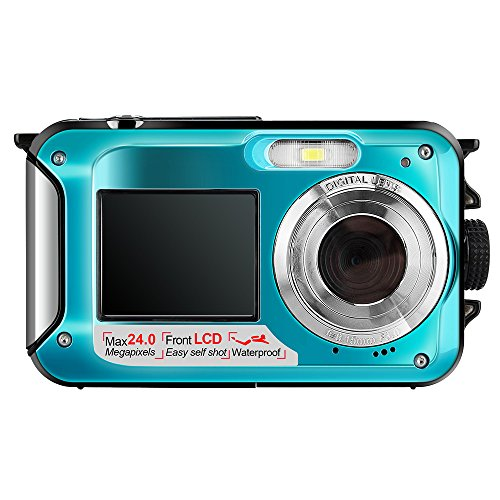 Hoyxel Wasserdichte Digitalkamera,Unterwasser Kamera EG04 Doppel Bildschirme Mini FHD Videokamera FHD Unterstützt Unterwasser/Sport Aufnahme/Selbst Aufnahme/Reise Tauchen Schwimmen Kamera (Blau)