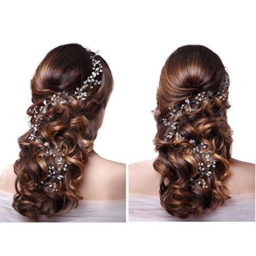 Skitic Strassbesatz Haarband und Stirnband mit Kristall, Fashion Schön Style Kopfschmuck Haarbänder Lange Glänzende Haarranke für Frauen und Mädchen (Silber) - 2