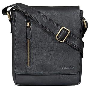 STILORD 'Easton' Kleine Messenger Bag Echt Leder Vintage Umhängetasche im Hochformat 10,1 Zoll Tablet Tasche für iPad DIN A5 Schultertasche Echtleder, Farbe:Havanna – braun