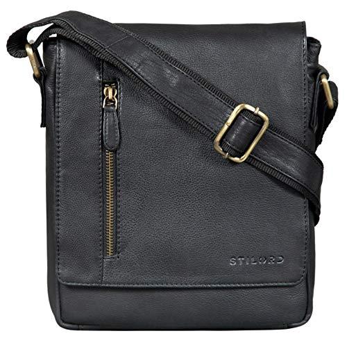 STILORD \'Easton\' Kleine Messenger Bag Leder Schwarz Vintage Umhängetasche im Hochformat 10,1 Zoll Tablet Tasche für iPad DIN A5 Schultertasche Echtleder