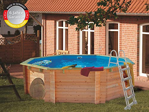 Paradies Pool Holzpool Komplettset inkl. Zubehör, Schwimmbad für den Garten, Badespaß für die ganze Familie, Achteck-Pool, 400 x 120 (Ø x H), Menge: 1 Stück