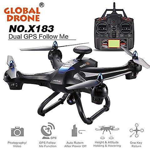 Ularma Global Drone 6-axes X183 avec 2MP WiFi FPV HD Camera GPS Brushless Quadcopter (noir)