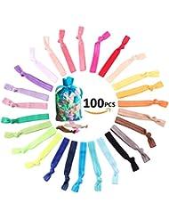 100 Piezas Banda elásticas de pelo goma Colores cintas para el pelo hairbands para mujeres niña accesorios para el cabello Elastic hair tie Ponytail Holder(Color aleatorio)