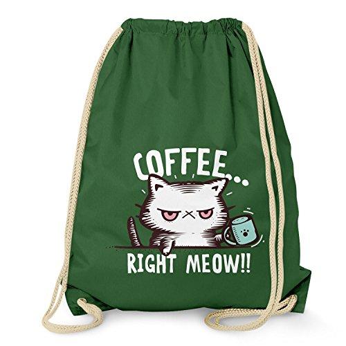 NERDO - Coffee right Meow - Turnbeutel, dunkelgrün (Mokka-grüner Tee)