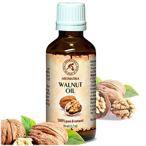 Walnussöl 100% naturreines und reines 50 ml, Walnußöl - Juglans Regia Seed Oil, Glasflasche, Basisöl, USA, Walnuss Öl kaltgepresst und raffiniert, Walnuss Süß reich an Omega 3, intensive Pflege für Gesicht, Körper, Haare, Haut, Nägel, Hände, Anti-Falten /Anti-Aging, rein verwendet, gut mit ätherischem Öl / für Schönheit / Beauty /Aromatherapie / Entspannung / Massage / Wellness / Kosmetik / Körperpflege / Entspannung / unverdünntes / Alternative Medizin von AROMATIKA (100% Natürliche Walnuss-Öl)