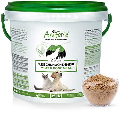 AniForte Fleischknochenmehl 2 kg für Hunde und Katzen, Natürliche Deckung des Kalzium und Phosphorbedarfs beim Barfen, Barf Ergänzung, Absolut Natürlich