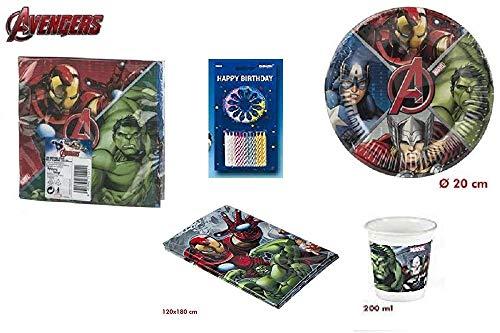 Mgs33 Kit Marvel First Avengers 63 Pièces Anniversaire Fête 8 Enfants (10 gobelets, 8 Assiettes 19,5 cm et 20 Serviettes+ 24 Bougies + 1 Nappe 120 x 180 )