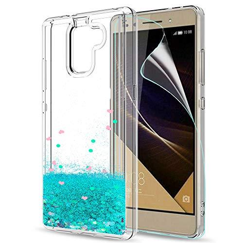 LeYi Hülle Huawei Honor 7 Glitzer Handyhülle mit HD Folie Schutzfolie,Cover TPU Bumper Silikon Flüssigkeit Treibsand Clear Schutzhülle für Case Huawei Honor 7 Handy Hüllen ZX Turquoise