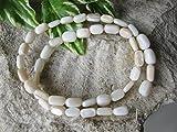 42 Perlmutt Perlen Reiskorn am Strang, ca. 0,9cm in creme weiß, Schmuck basteln