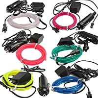 EL Wire Neon LED Strip, Neon Light Tube Rope 2M Neon Light Glow EL Wire Car Rope Strip + Car Charger Driver DIY Multicolor Cosplay Christmas New Year Lighting (Color : Blue)