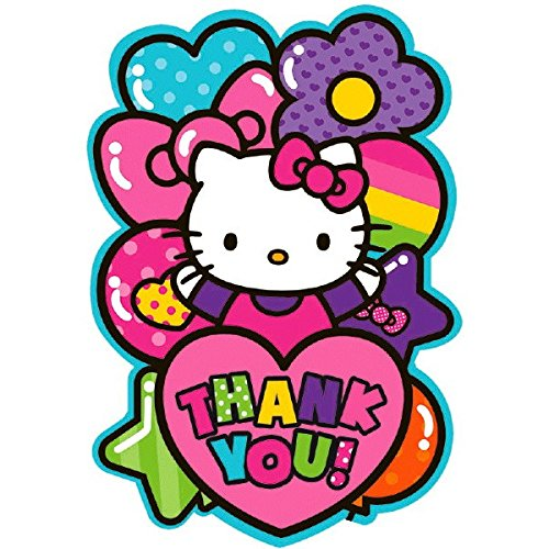 amscan Liebenswürdig, Hello Kitty Rainbow® Postkarte Geburtstag Party Thank You Karten (8 Pack), Rosa, 4 1/10,2 cm X 6 1/10,2 cm (Halloween-party-ideen Kitty Hello)