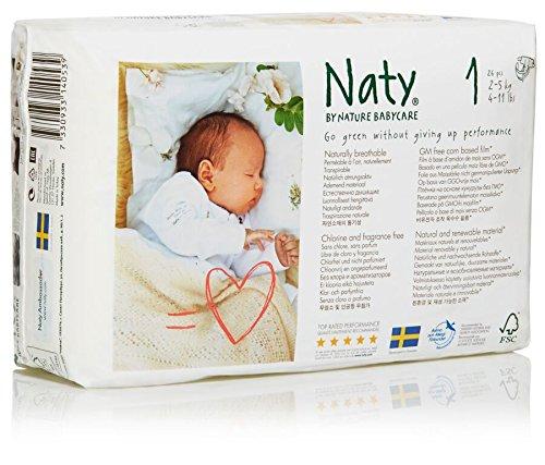 Naty by Nature Babycare Ökowindeln - Größe 1 Newborn, 2-5 kg, 2er Pack (2*26 Stück)