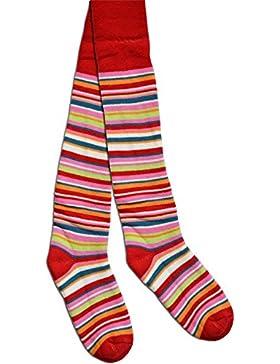 2 Paar Kinder Ringel Thermo Strumpfhose für Jungen und Mädchen in verschiedenen Farben Farbe Rot Größe 134/146