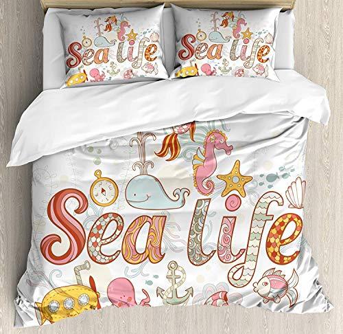3-teiliges Bettwäscheset für Kleinkinder, Bettwäscheset, Sea Life-Motiv Unterwasser Wildlife Creatures-Tiere Niedlicher Cartoon-Stil Fantasie, 3-tlg. Tröster- / Qulitbezug-Set mit 2 Kissenbezügen, meh -