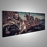 islandburner Cuadro Cuadros Vikingo Guerrero con Espada Cerca del Drakkar mar. Impresión sobre Lienzo - Formato Grande - Cuadros Modernos Dum