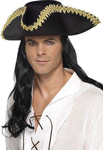 Smiffys Déguisement Homme, Chapeau pirate, Noir, 44666 5020570101605