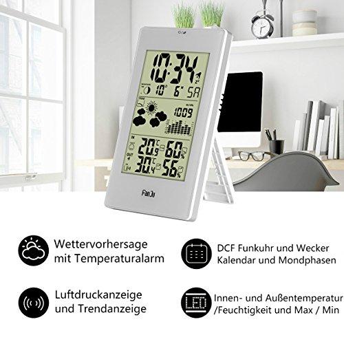 FanJu FJ3352 Wetterstation mit Außensensor Funk / Innen- und Außentemperatur und Feuchtigkeit / DCF-Empfangssignal Funkwetterstation / Mondphase / Betrieben Uhr mit Thermometer. - 2