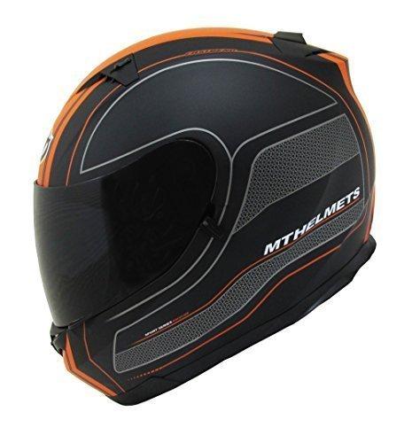 MT Raceline cara completa casco de motocicleta hoja naranja - pequeño