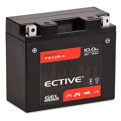 ECTIVE 12V 10Ah GEL Motorradbatterie YT12B-BS | 13 Varianten: 5Ah - 21Ah | 12 Volt Motorrad Batterie Starterbatterie absolut wartungsfrei | 51015 YT12B-4 YG12B-4| Premium Powersports