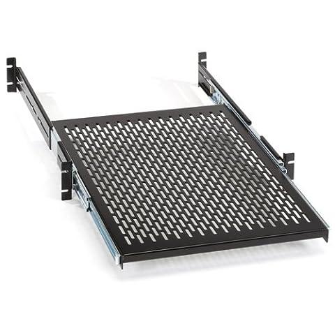 Black Box Rackmount Sliding Vented 4-Point Shelf, 19 Rails by Black Box