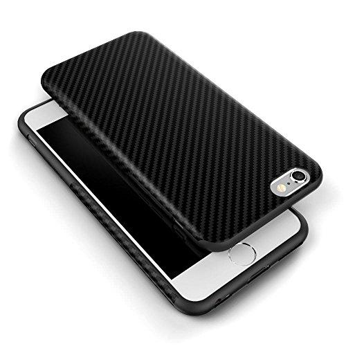 Coque pour iPhone, L-fadnut [lignes en fibre de carbone] TPU Silicone Ultra fin Coque arrière, absorbant les chocs Bumper Coque de protection pour Apple iPhone, plastique, Case+Screen Protector, iPhon Noir