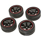 Generic RC Model on-Road Car Rubber Racing Tires Tyre and Wheel Rim, 1:10 (701A-6085) - Pack of 4