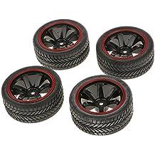 4x Rally Neumáticos Ruedas y Llantas con 12 mm Hexagonal para RC 1/10 HSP Coche