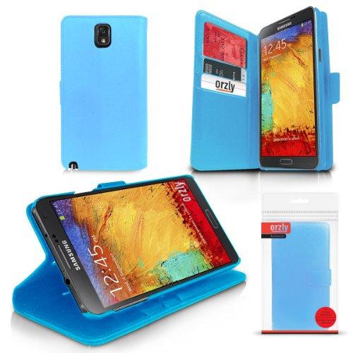 Orzly® - Multi-Function Wallet Case per GALAXY NOTE III (COPERTINA con PORTAFOGLIO e SUPPORTO integrato) - Custodia Protettivo / Porafoglio in BLU per SAMSUNG GALAXY NOTE 3 SmartPhone ( 2013 Modello )