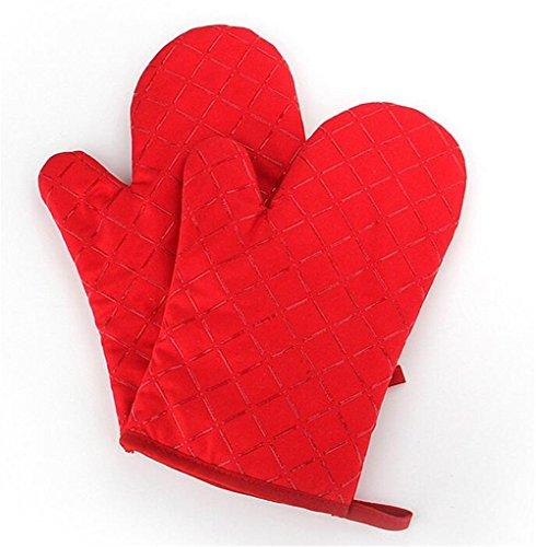 1Paar hitzebeständig Silikon Topflappen Kochen Backen Grill Mikrowelle Ofen Handschuh rutschfest Fäustling Handschuhe Küche Supplies rot Mikrowellen-ofen-fäustlinge