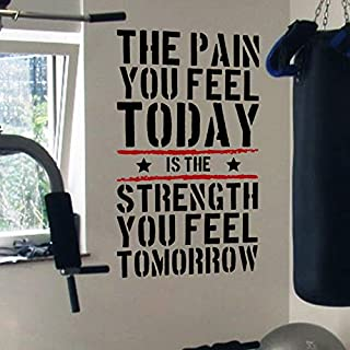 DesignDivil Pain Today Strength Tomorrow Gym Motivational Wall Decal Quote 5 Colour Options (black/red)