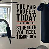 Pain Today Strength Tomorrow Gym Motivational Wall Decal Quote 5 Colour Options, multicolore  - nero/rosso, 57cm wide x 100 cm high
