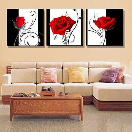Rjj Rosa roja pintura decorativa cuadrada 60 * 60cm3pcs