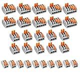 30-teiliges Verbindungsklemmen-Set mit Betätigungshebeln für Kabel, kompakt, verschiedene Größen, 2-fach-, 3-fach- und 5-fach-Klemmen, Klemmleiste, Kabelabzweiger, Leitungsverteiler