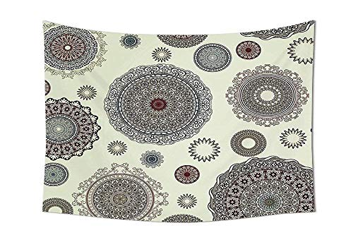 Round Motifs Forms Oriental Nostalgic Islamic Art Style Old World In Retro Art Deco Home Bedroom Living Room Dorm Multi Unique Home Decor ()