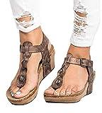 Minetom Femme Mode Sandale Espadrille Lanière Cheville Sandale Talon Compensé Plateforme Femme Été Mode Sandale A Marron EU 40