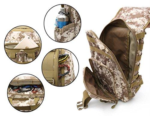 FFZH 40L multifunzione sport all'aria aperta camuffamento fan militari zaino trekking borsa a tracolla 3P Zaino (camuffamento / nero / ACU / cachi) , A D