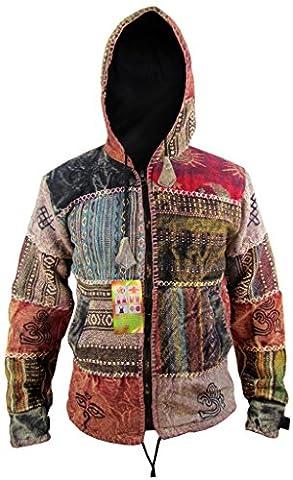 Little Kathmandu Men's Sun Moon Stonewashed Cotton Gheri Fleece Lined Symbols Patchwork Hippie Boho Funky Jacket Hoodie Medium